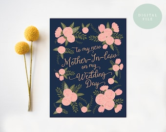 To my new mother in law on my wedding day mother of the groom mother-in-law card mother in law gift INSTANT DOWNLOAD