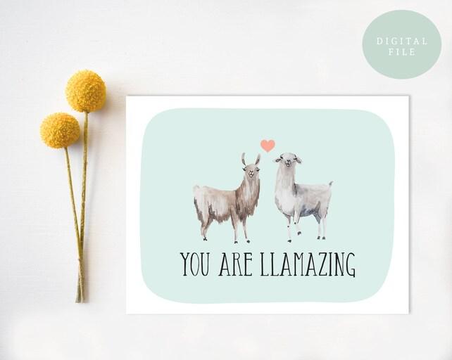 Llama Valentine Card Llama Love Llama Valentines Day Card Funny