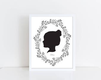 Silhouette, Child Silhouette, Mother's Day Gift, Family Silhouette, Custom Silhouette Print, Personalized Silhouette Print, Portrait
