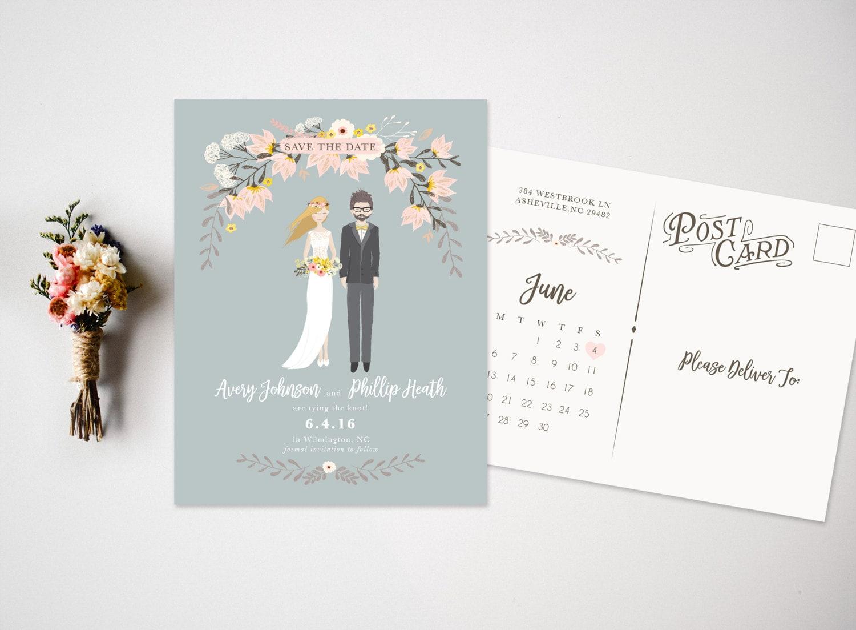 Save the Date Portrait Wedding Invitations Portrait Save the