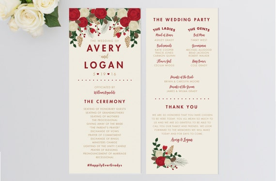 wedding program christmas wedding program order of ceremony etsy