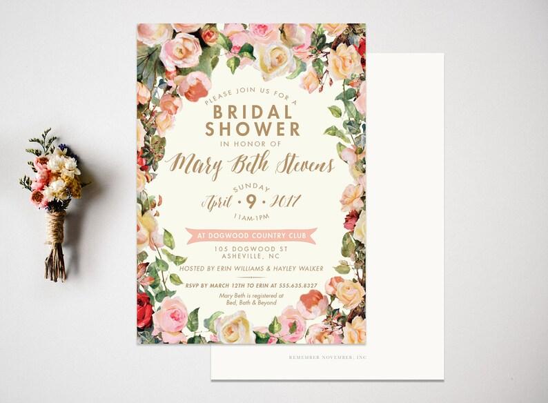 Bridal Shower Invitation  Wedding Shower Invitation  Vintage Bridal Shower  Bridal Shower Invite  Wedding Invitation  Floral