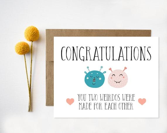 Boda divertida tarjeta de felicitaciones para imprimir   Etsy