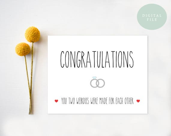 Funny Wedding Card Printable Congratulations Card Engagement Etsy
