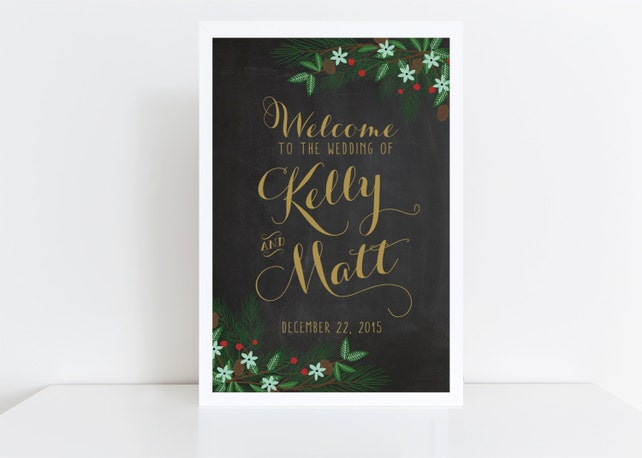 Wedding Welcome Sign Printable  Winter Wedding Sign  Reception Sign  Chalkboard  Welcome Poster  Wedding Poster  Christmas