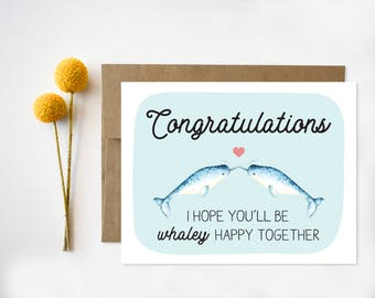 Wedding Congratulations Card, Funny Wedding Card, Congratulations, Narwhal, Narwhals, Weirdos, Quirky Wedding Cards, Unique wedding card