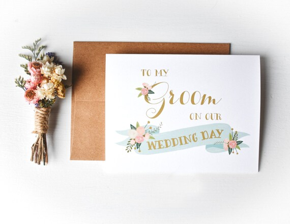 Gift For the Groom Simple Wedding Day Card for the Groom DT2467GRO Vow Card To My Groom On Our Wedding Day Card