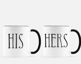 Set of 2 Coffee Mugs, His & Hers coffee mugs His and Her Coffee Mugs Wedding Gift Engagement Gift Anniversary Coffee Mug Husband Wife Mugs