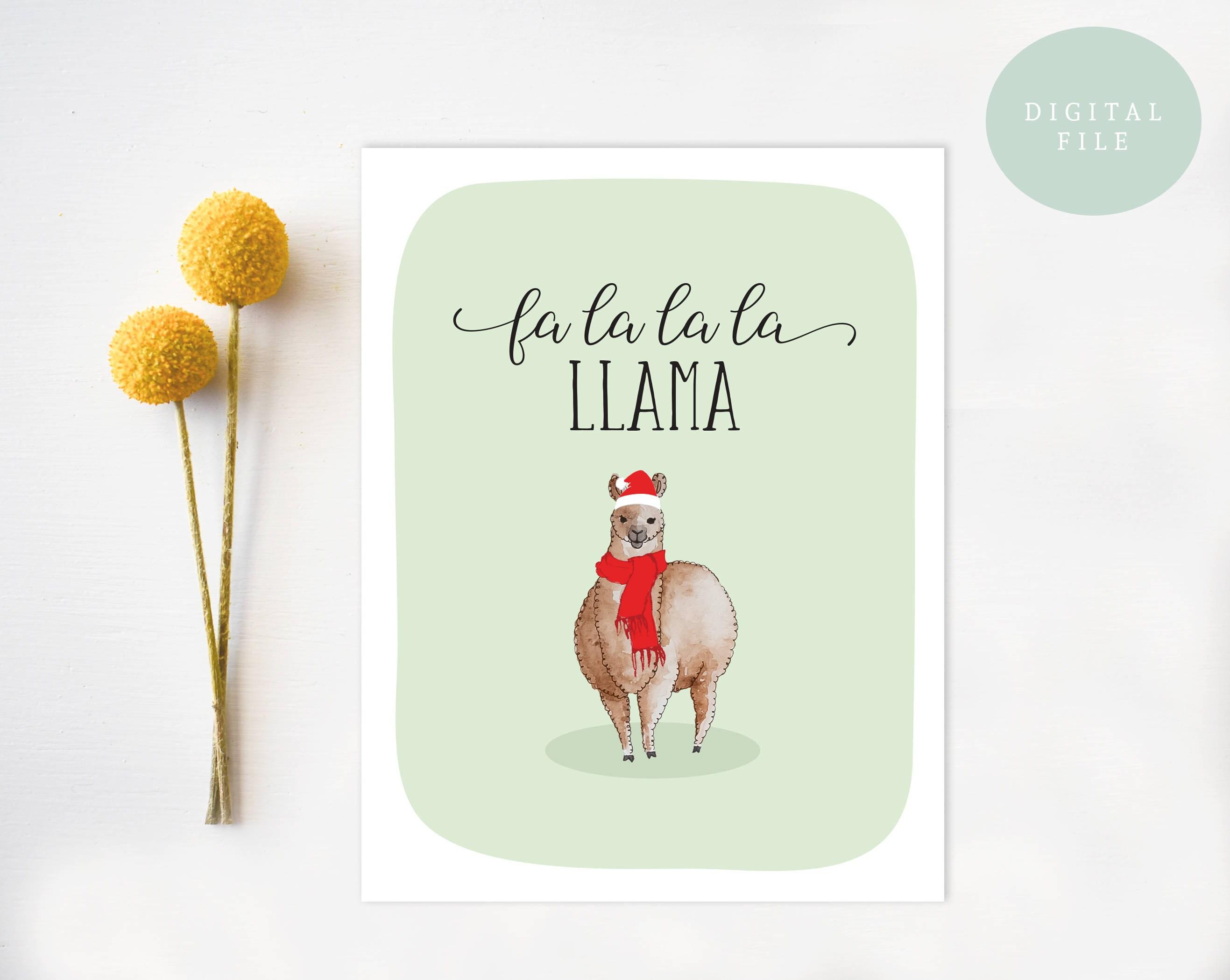 PRINTABLE Christmas Card Funny Christmas Card Llama christmas | Etsy
