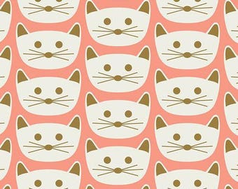 Cat Nap in Pink, Blush Collection by Dana Willard Art Gallery Fabric, Choose your cut