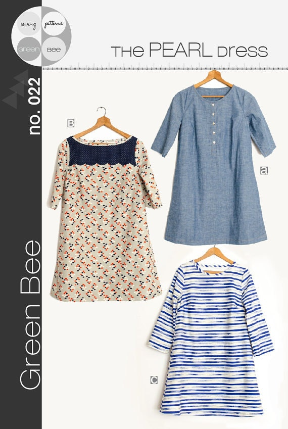 The Pearl Shift Dress Sewing Pattern by Green Bee | Etsy