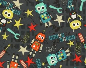 Bot Boy Graphite Michael Miller Fabric, Choose your cut