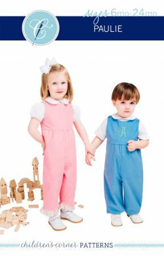 Children's Corner Sewing Pattern Paulie Romper Sizes Etsy Cool Childrens Corner Patterns