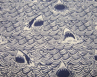 Dear Stella Fabric Dark and Stormy Collection, Sharks in Indigo,  Choose your cut