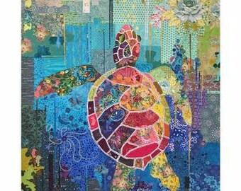 Seawell Sea Turtle Collage Quilt Pattern by Laura Heine for Fiberworks Inc