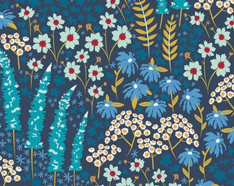 Fat Quarter Only Blue Bank Flora from Catch and Release Collection by Mister Domestic, Art Gallery Fabric
