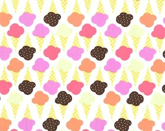 Ice Cream you Scream, Game of Cones in color Sherbet Michael Miller Fabric, Choose your cut