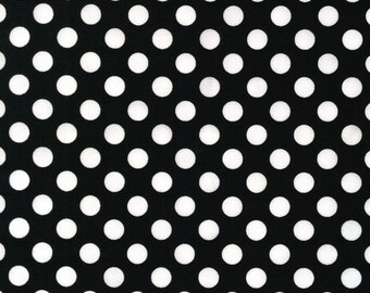Remnant end of bolt 30 inches Spot On Black Polka Dots Robert Kaufman Fabric