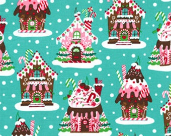 Remnant end of bolt 26 inches Christmas Michael Miller Fabric Gingerbread Houses Aqua