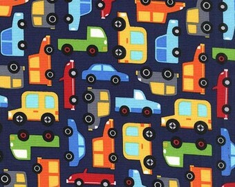 Remnant end of bolt 17 inches Michael Miller Fabric Traffic Jam Dot in Navy