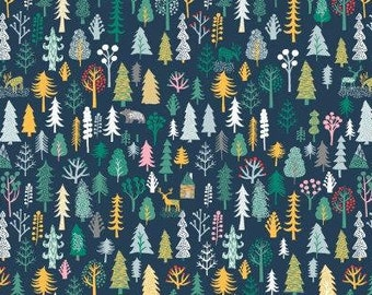 Dear Stella Fabric Waiting for Santa Collection,  North Pole in Forest, Choose your cut