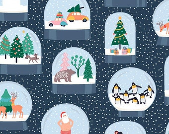 Dear Stella Fabric Waiting for Santa Collection, Snow Globes in Multi, Choose your cut