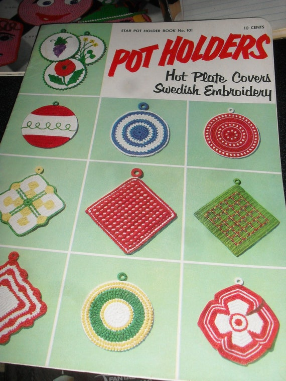 Vintage Crochet Booklet Pot Holders And Hot Plate Covers Etsy