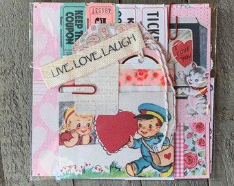 Lithograph Paper Scraps 7 Greeting Cards Dye-Cut c1940/'s Scrapbook Vintage Valentines Embossed Ephemera