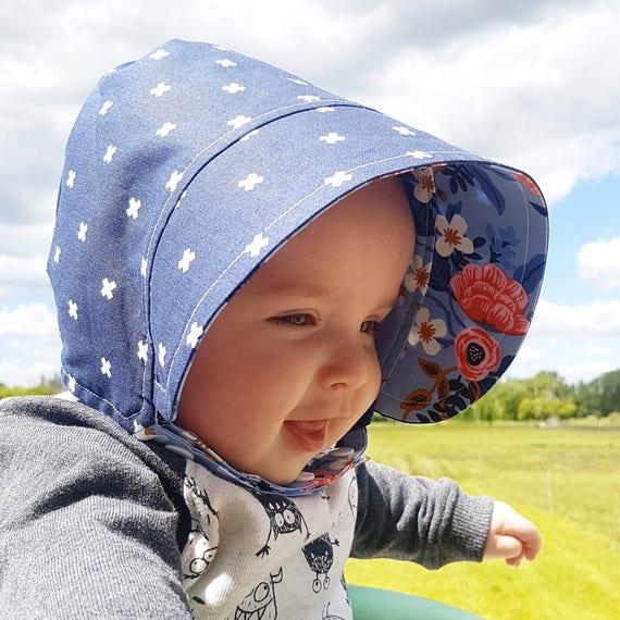 bc4090d1f Baby Bonnet, Modern Baby Sun Hat, Baby Beach Hat, Girls Sun Hat, Baby Hat,  Girl Bonnet, Boy Bonnet, Modern Bonnet, Floral Bonnet Rifle Paper