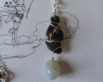 Item 0003 Black dyed Carved Driftwood with Dirty Moonstone Dangle on thin silver chain