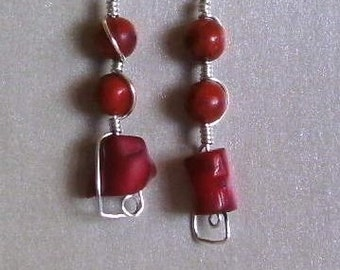 Item 7179 Wire Wrapped Red Coral Earrings