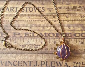 Item 1929 Amethyst Sun Gear Necklace