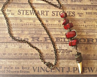 Item 1921 Red Riverstone and Tooth Pendent Necklace