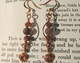 Item 2194 Jasper Copper wire wrapped earrings