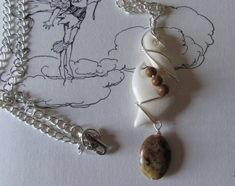 Item 0009 Carved Bone with Jasper Dangle on thin silver chain