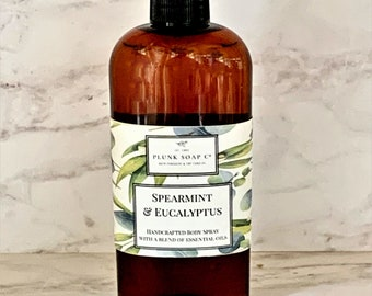 Spearmint and Eucalyptus Body Spray:  Vegan, essential oils, aromatherapy, beauty products, skincare, calming, stress reliever, holiday gift