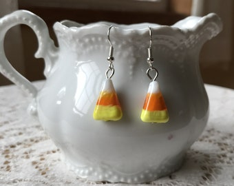 Swirled Glass Bead Candy Corn Pierced Earrings, Yellow / Orange / White Beads, Dangling Earrings, Fall / Autumn / Harvest, Handmade