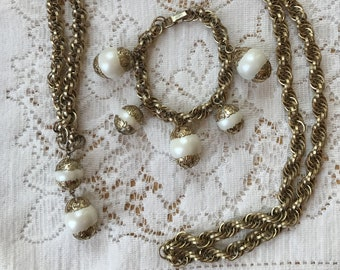 Vintage Estate Big Chunky Judy Lee Bracelet and Long Necklace Set, Big Pearly Egg Shaped Beads with Filigreed Ends