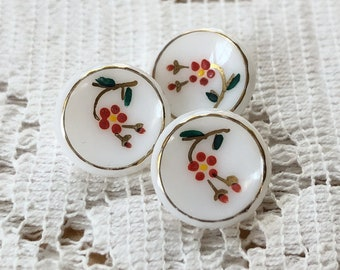 Three Sweet Vintage Estate Hand Painted White Milk Glass Buttons, Red Flowers, Gold Trim, Convex Top, 13 mm