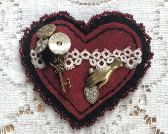 Handmade Victorian Style Heart Shaped Felt Brooch, Vintage Lace, Vintage Buttons, Rhinestone Heart, Key, Victorian Hand, Glass Beads, Gothic