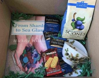 Care Package / Gift Box, Christian Romance Novel, Tea, Scones, Cookies, Vintage Tea Cup or Mug, Beach Glass, Sea Glass, Maine Coast Themed