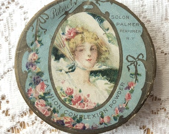 Beautiful Vintage Light Aqua with Pink Roses Empty Palmer Complexion Powder Box, Shabby Cottage Decor