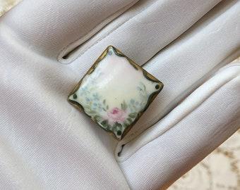 Vintage / Antique Square Shaped Porcelain Hand Painted Collar Stud / Button Stud / Shirt Stud, Pink Rose, Flowers / Floral, Edwardian