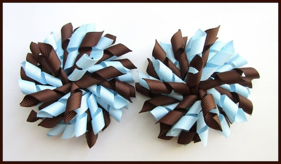 BROWN LIGHT BLUE SCHOOL UNIFORM KORKER HAIR PONYTAIL CORKER BOW BOBBLE STREAMER