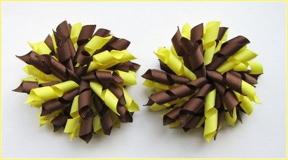 New Handmade Brown Multi Pink Polka Dot Coloured Corker Hair Bow Ponytail Bobble