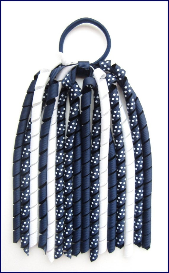 NAVY BLUE YELLOW SCHOOL UNIFORM KORKER CURLY CORKER HAIR PONYTAIL LONG STREAMER