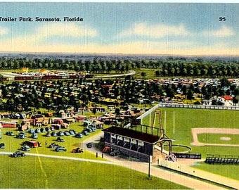 Vintage Florida Postcard - The Sarasota Trailer Park, Sarasota (Unused)