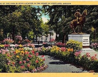 Vintage Oregon Postcard - South Park Blocks, Portland (Unused)
