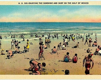 Vintage Postcard - Sunshine and Surf on the Gulf of Mexico (Unused)