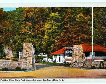 Winter at Watkins Glen State Park in the Finger Lakes Unused Vintage New York Postcard